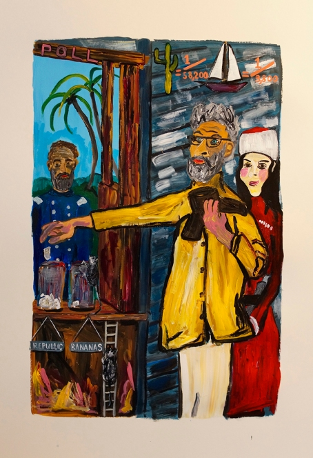 """""""The Famous Bledsoe Painters Are First To Cast Their Vote During Arizona Reconstruction"""" 2016. Acrylic on paper, 15 x 23"""""""